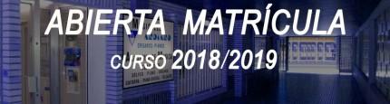 Abierta Matrícula curso 2018-2019